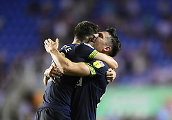 Derby County's Tom Lawrence and David Nugent (right) celebrate after the final whistle