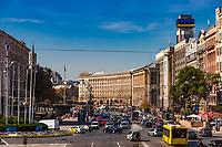 Kiev , Ukraine - August 30, 2019 :  Khreschatyk Street  Landmark of Kiev Ukraine Europe