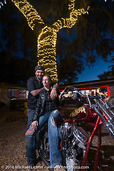 Cycle Source editors Chris and Heather Callen at the Broken Spoke Saloon. Daytona Bike Week 75th Anniversary event. FL, USA. Wednesday March 9, 2016.  Photography ©2016 Michael Lichter.