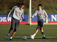 Photo: Paul Thomas.<br /> England training session. 05/02/2007.<br /> <br /> Peter Crouch (L) and Joey Barton during taining.