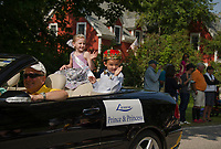 Lake Shore Park's Prince and Princess Elizabeth Paton and Nathan Donovan wave to the crowd during the Gilford Old Home Day parade on Saturday morning.  (Karen Bobotas/for the Laconia Daily Sun)