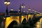 Bridge at night, Garonne River,  Bordeaux, France
