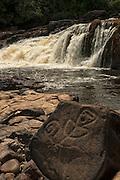 Petroglyphs<br /> Corona Falls<br /> Rewa River<br /> Rainforest<br /> GUYANA. South America