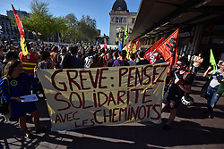 April 17, 2018 - Toulouse, France - French railway workers on strike gathered in front of Matabiau Train Station in Toulouse before the fourth strike day against rail reform. The gathering was called by the CGT, the CFDT, the SUD trade unions. Users of the railway public service were also invited to gather. The banner reads 'Strike: think solidarity with railway workers'. Toulouse. France. April 17th 2018. (Credit Image: © Alain Pitton/NurPhoto via ZUMA Press)
