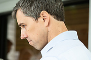 Democratic presidential hopeful Beto O'Rourke listens to a question from reporters after addressing supporters at a campaign stop April 13, 2019 in Summerville, South Carolina. During the event in the suburb of Charleston, Beto picked up the endorsement of South Carolina Rep. Marvin Pendarvis.