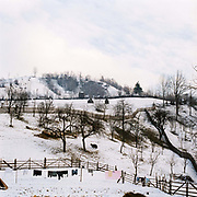 Winter agricultural landscape in the village of Botiza, Maramures, Romania