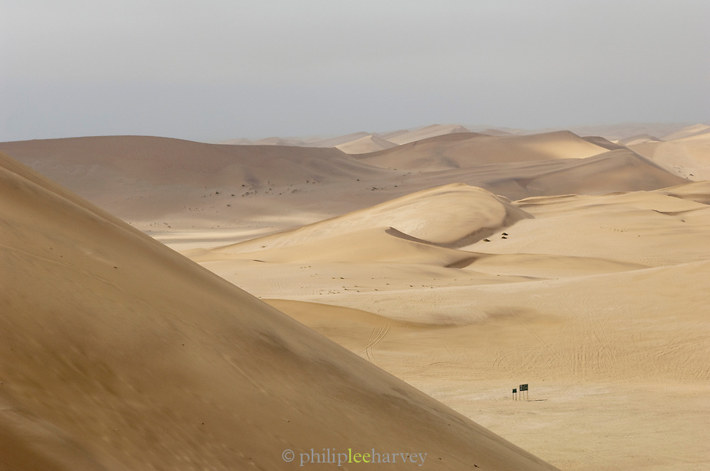 Information signs in the vast Namid Desert near Swakopmund The area is famous and popular for sandboarding, Namibia