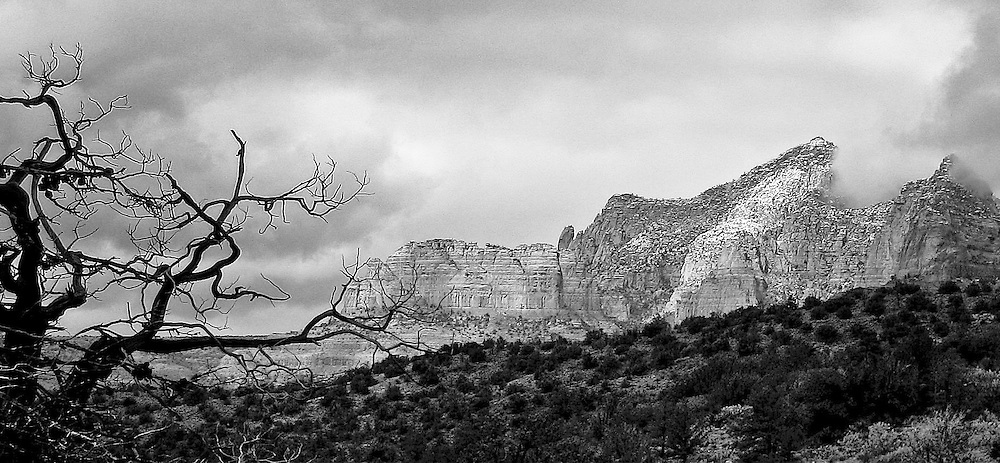 This is a black and white version of a passing storm in sedona arizona