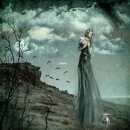 Mother Nature in a long sheer dress walking in a grassy field with a dove in her hands, a lamb and butterflies at her feet.