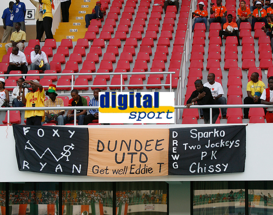 Photo: Steve Bond/Richard Lane Photography.<br />Ivory Coast v Benin. Africa Cup of Nations. 25/01/2008. Dundee United flag in the crowd at Sekondi