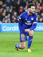 Football - 2017 / 2018 Sky Bet Championship - Cardiff City vs. Wolverhampton Wanderers<br /> <br /> Sean Morrison  of Cardiff City on one knee  at Cardiff City Stadium.<br /> <br /> COLORSPORT/WINSTON BYNORTH