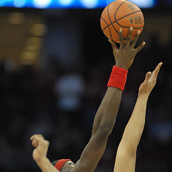 Jan 29, 2009; Newark, NJ, USA;  Rutgers center Hamady N'Diaye (5) wins the tipoff at the beginning of Seton Hall's 70-67 victory at the Prudential Center.