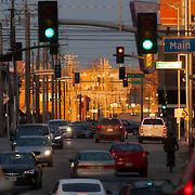 View eastward along 20th Street across the Main Street intersection, Crossroads District area, Kansas City, Missouri.