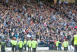 Falkirk's fans celebrates Peter Grant  scoring their goal. Falkirk 1 v 2 Inverness CT, Scottish Cup final at Hampden.