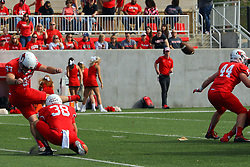 21 October 2017:  Zach Breen holds for Sean Slattery on a point after attempt during the South Dakota Coyotes at Illinois State Redbirds Football game at Hancock Stadium in Normal IL (Photo by Alan Look)