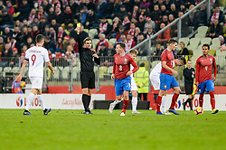 November 15, 2018 - Gdansk, Poland, Referee STEPHAN KLOSSNER with yellow card during football friendly match between Poland - Czech Republic at the Stadion Energa in Gdansk, Poland