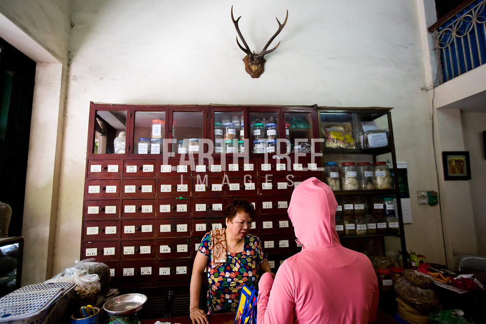 TCM shop in Hanoi, Vietnam.  Traditional Chinese medicine is a style of traditional medicine built on a foundation of more than 2,500 years of Chinese medical practice that includes various forms of herbal medicine, acupuncture, massage, exercise , and dietary therapy, but recently also influenced by modern Western medicine. TCM is widely used in Greater China where it has long been the standard system of medicine, but it's recently been highlighted by conservationists as a threat to much of the wildlife across the globe, such as rhino, for it's horn and pangolins for their scales. Photo: Paul Hilton for Earth Tree