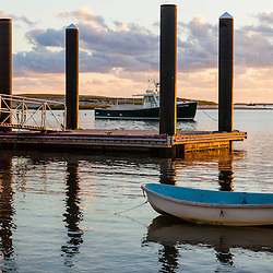 Skliffs next to the commercial fishing pier in Chatham, Massachusetts. Cape Cod.