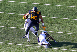 Nov 10, 2018; Morgantown, WV, USA; West Virginia Mountaineers tight end Trevon Wesco (88) catches a pass and runs for extra yards during the third quarter against the TCU Horned Frogs at Mountaineer Field at Milan Puskar Stadium. Mandatory Credit: Ben Queen-USA TODAY Sports