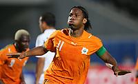 Jubel Didier Drogba Elfenbeinkueste nach 0:1<br /> Africa Cup 2006 Libyen - Elfenbeinkueste<br /> Elfenbenskysten - Libya<br /> Norway only