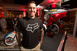 Former professional freestyle motocross competitor and motorcycle racer Carey Hart with his just revealed Indian Chieftain at an Indian party at the Hilton Hotel during bike week. Daytona Beach, FL, USA. Friday March 10, 2017. Photography ©2017 Michael Lichter.