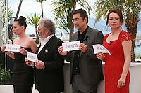 Melisa Sözen, Nuri Bilge Ceylan, Haluk Bilginer and Demet Akbağ at the photocall for the film Winter Sleep (Palme d'Or winner) at the 67th Cannes Film Festival, Friday 16th May 2014, Cannes, France