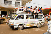 03 JULY 2006 - KOKY, CAMBODIA: A mini bus pressed into service as a full service passenger bus passes through Koky, Cambodia. Photo by Jack Kurtz / ZUMA Press