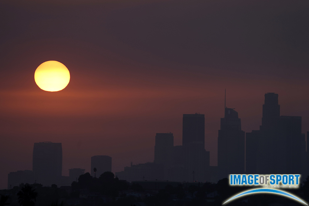 Sunset over downtown Los Angeles skyline in skies darkened by California wildfires, Saturday, Sept. 26, 2020.