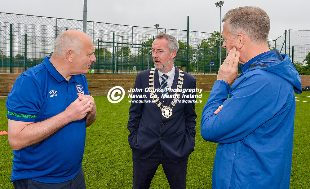 Navan Mayor, Padraig Fitzsimons (centre), chats to Gerry McAnaney (left), FAI President and Jonathan Hill, FAI Chief Executive Officer    at the FAI Summer Soccer Schools at MDL, Navan.<br /> <br /> Photo: GERRY SHANAHAN-WWW.QUIRKE.IE<br /> <br /> 01-07-2021