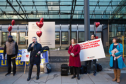 London, UK. 14th February, 2019. Mark Serwotka, General Secretary of the Public & Commercial Services (PCS) union addresses a Valentine's Day-themed picket line outside the Department of Business, Energy and Industrial Strategy (BEIS) with outsourced support staff from PCS taking strike action to demand the London Living Wage and an end to outsourcing.