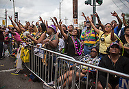 People watching the Zulu parade on Mardi Gras day in New Orleans.