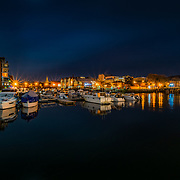 www.aziznasutiphotography.com                                         Picture has been taken from Spolsiden. The view from verftsbrua (Blomsterbrua) to Bakke Bru and Nidarosdomen in Trondheim. Solsiden is full of bars and cafes and restaurents.