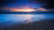Sand and surf at dusk, San Buenaventura State Beach, Ventura, California