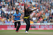 Jerome Taylor of Somerset successfully appeals for the wicket of Laurie Evans during the Vitality T20 Finals Day semi final 2018 match between Sussex Sharks and Somerset County Cricket Club at Edgbaston, Birmingham, United Kingdom on 15 September 2018.