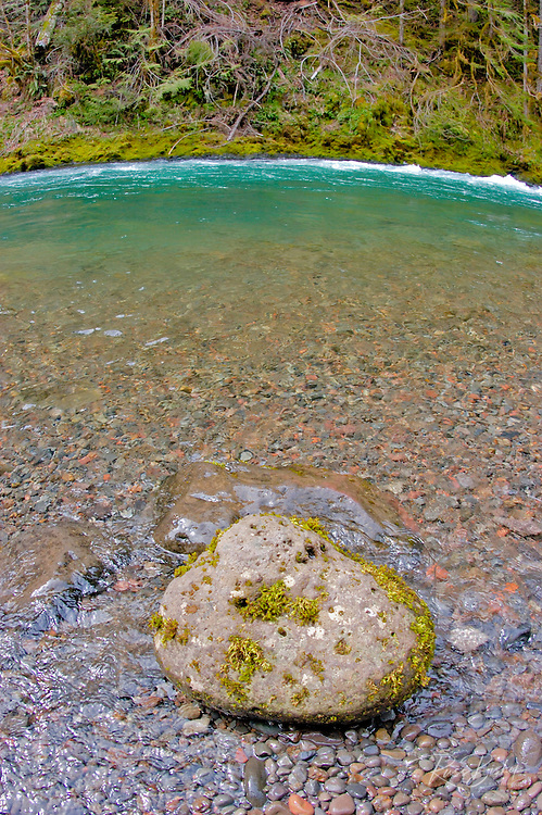 Cool green water and rock in the McKenzie River, Willamette National Forest, Oregon USA