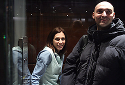 Marija and Matija Sestak  in the lift when Slovenian athletics team for European Athletics Indoor Championships come to their hotel Art&Tech Meridien in Torino,  Italy, on March 4, 2009. (Photo by Vid Ponikvar / Sportida)