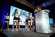 UConn President Susan Herbst speaks during the Alumni Association pep-rally at the Hyatt Regency in Dallas, Texas before watching her school compete in the NCAA Final Four on April 5, 2014. (Cooper Neill / for The New York Times)