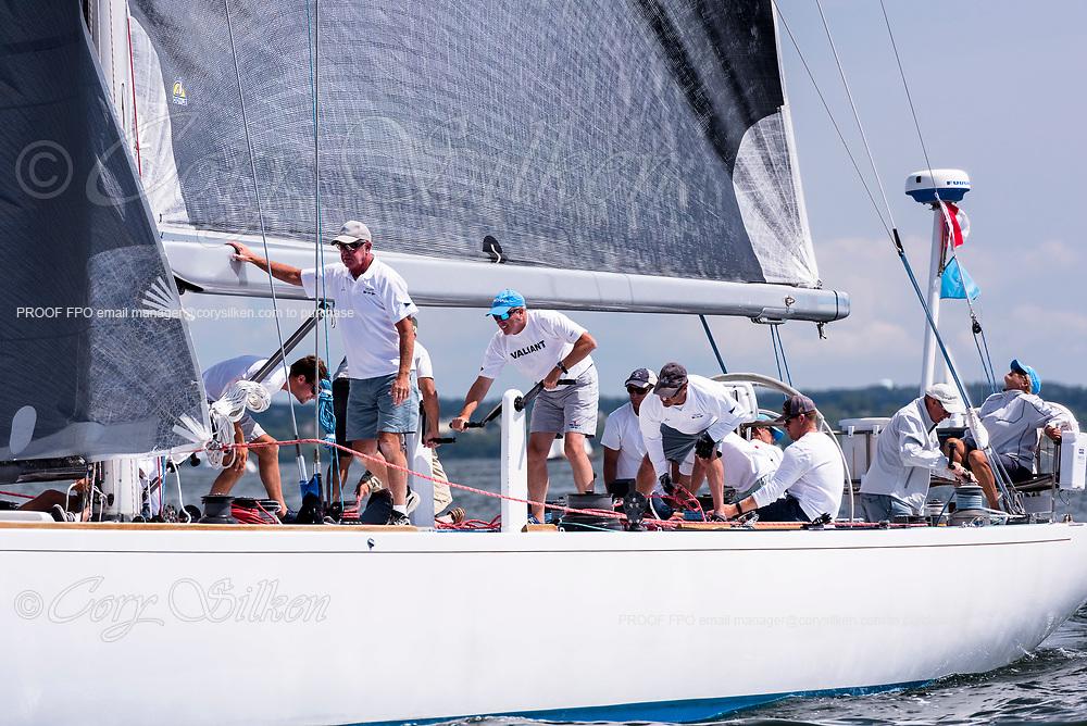 Valiant sailing in the Panerai Newport Classic Yacht Regatta, day two.