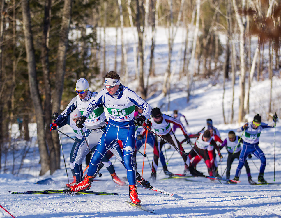 Jeff Tucker of Colby College during the Colby College Winter Carnival Team Sprint Relay at Quarry Road on January 24, 2016 in Waterville, ME. (Dustin Satloff)
