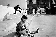 GHENT, BELGIUM - 18/04/1992 - DAILY LIFE / LEISURE, Outskirts of Ghent, children playing football on the streets.