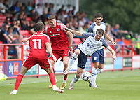 Preston North End's Jordan Storey and Accrington Stanley's John O'Sullivan<br /> <br /> Photographer Stephen White/CameraSport<br /> <br /> Football Pre-Season Friendly - Accrington Stanley v Preston North End - Saturday 24th July 2021 - Crown Ground - Accrington<br /> <br /> World Copyright © 2021 CameraSport. All rights reserved. 43 Linden Ave. Countesthorpe. Leicester. England. LE8 5PG - Tel: +44 (0) 116 277 4147 - admin@camerasport.com - www.camerasport.com