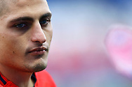 Paris Saint Germain's Italian midfielder Marco Verratti warms up before the French Championship Ligue 1 football match between Paris Saint-Germain and Girondins de Bordeaux on September 30, 2017 at the Parc des Princes stadium in Paris, France - Photo Benjamin Cremel / ProSportsImages / DPPI
