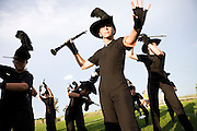 The Oregon High School Marching Band prepares for their first performance in Oregon, Wisconsin on June 23, 2010.