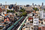 The Sensoji Buddhist temple, Nakamise dori shopping street and the five-storied pagoda in Asakusa, Tokyo, Japan.
