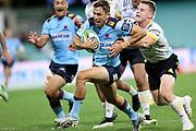 Jake Gordon make a break to score a try. Waratahs v Hurricanes. 2021 Super Rugby Trans Tasman Round 1 Match. Played at Sydney Cricket Ground on Friday 14 May 2021. Photo Clay Cross / photosport.nz