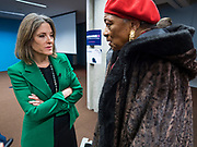 21 NOVEMBER 2019 - DES MOINES, IOWA: MARIANNE WILLIAMSON talks to a woman after a campaign appearance at the Central Public Library in Des Moines. Williamson, an author, activist, and spiritual leader, is running to be the Democratic nominee for the US Presidency in the 2020 election.  Iowa hosts the first presidential selection event of the 2020 election cycle. The Iowa caucuses are on February 3, 2020.                    PHOTO BY JACK KURTZ