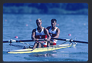 Banyoles, SPAIN, CAN M2-, Harold BACKER , Henry HERING, competing in the 1992 Olympic Regatta, Lake Banyoles, Barcelona, SPAIN. 92 Gold Medalist.   [Mandatory Credit: Peter Spurrier: Intersport Images]