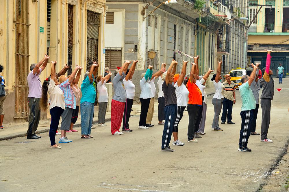 Street photography in central Havana- Tai Chi class, La Habana (Havana), Habana, Cuba