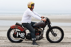 Mike Lohrman with his 1945 Harley-Davidson 45 inch Flathead racer at TROG (The Race Of Gentlemen). Wildwood, NJ. USA. Sunday June 10, 2018. Photography ©2018 Michael Lichter.