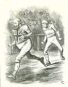 The Finish': General Election 1886. Gladstone (Liberal) went to the country over his Home Rule for Ireland bill. Salisbury (Conservative opposition) beats Gladstone to the finishing line .   John Tenniel cartoon from 'Punch', London, 17 July 1886.